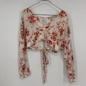 Flying tomato floral crop top large